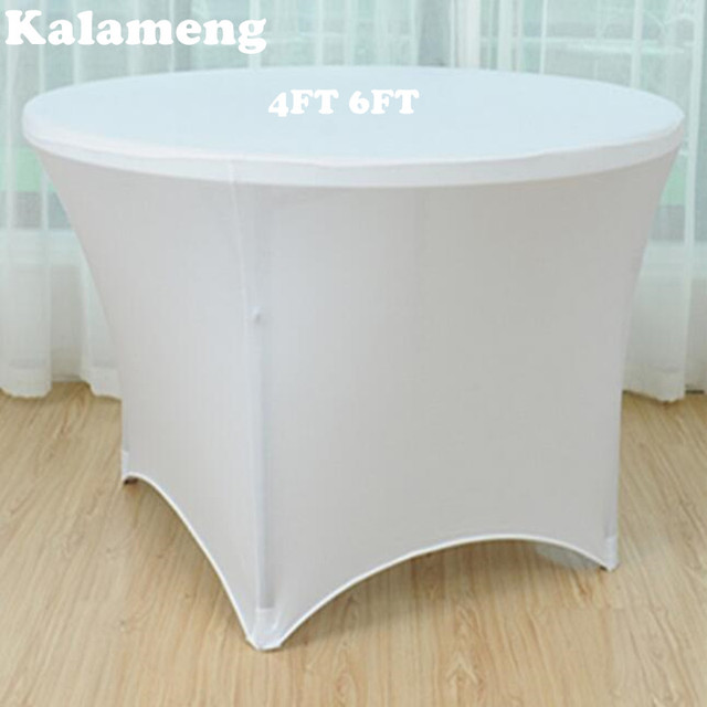 New White Round Table Cover Spandex Lycra Stretch Wedding Party