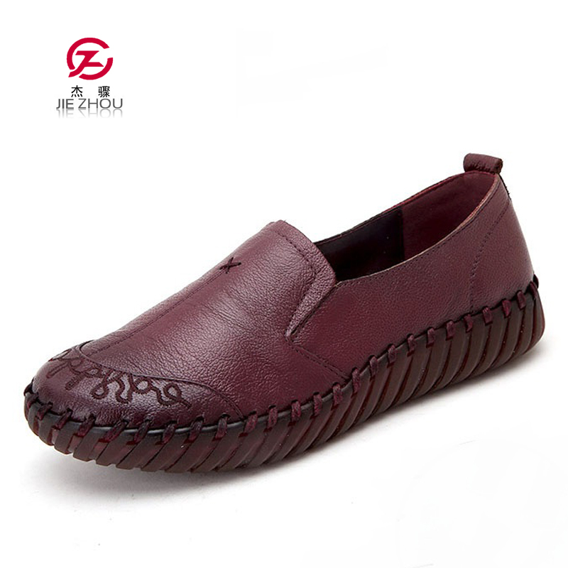 Retro Women Shoes Round Toe Slip On Loafers Fashion Handmade Shoes Woman Genuine Leather Soft bottom Women Flats