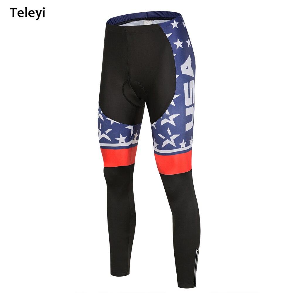 Men Pro USA Cycling Pants Black Sports MTB Bike Gel 6D Padded Pants Tight UK Bicycle Long Clothing Cycling Wear Size S-XXXL