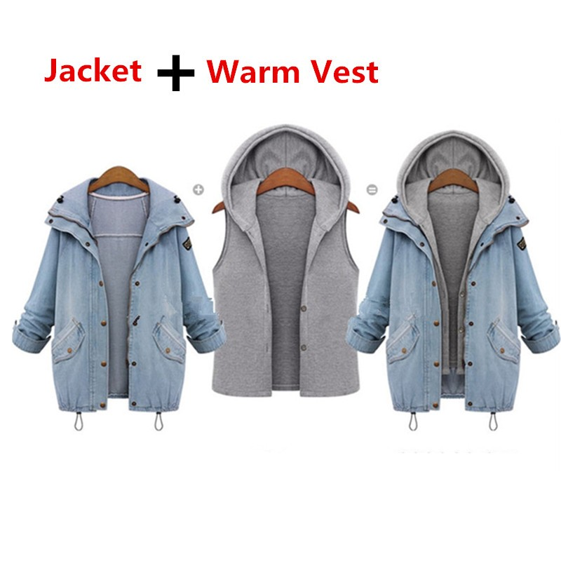 Hooded Drawstring Trends Jackets 2016 Fashion Autumn Winter Pockets Two Piece Outerwear Women Long Sleeve Buttons Blue Coat  (3)