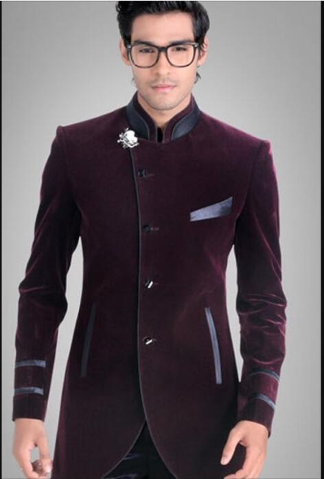 Latest Coat Pant Designs Purple Velvet Groom Men Suit Slim Fit 2 Piece Tuxedo Custom Suits Prom Party Blazer Terno Masculino H58