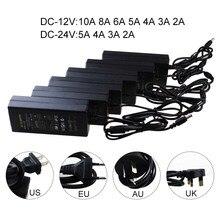 AC 100V-240V to 12V/24V 2A/3A/4A/5V/6A/8A/10A Converter led driver Power Supply Transformer for 5050 3528 5630 LED Strip Light