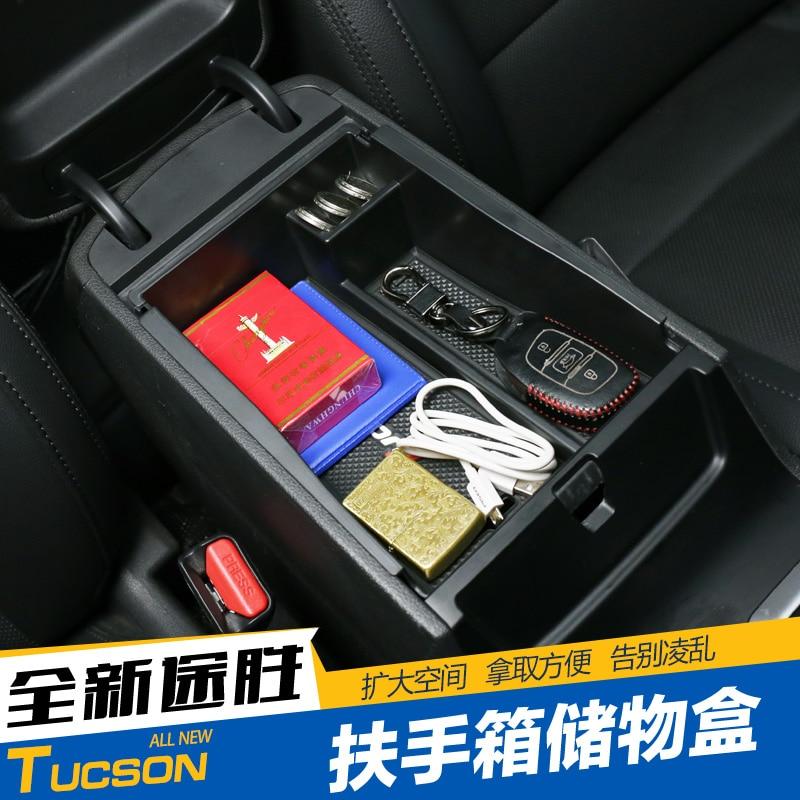 Armrest box storage box Interior change device box Tucson storage box partition board For Hyundai Tucson 2015 2016 2017 2018(China)