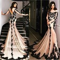 Sexy Elegant Transparent Mermaid Evening Dress 2017 Lace Appliques Formal Dress Full Sleeves Lace-Up Long Party Gown Au00104