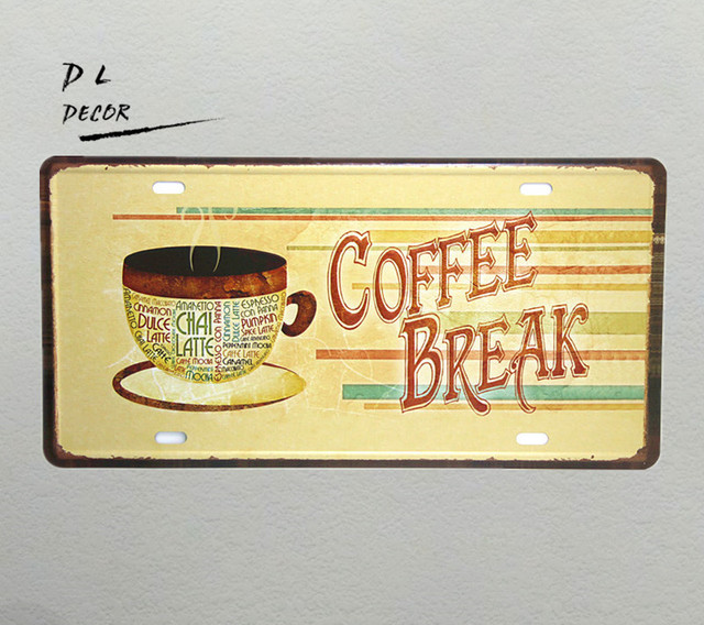 Dl Coffee Break License Plate Crafts Metal Wall Plaques Kitchen Decor Posters