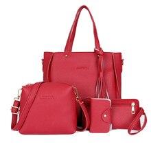 4pcs/set Women Bags Large Capacity Cosmetic Bag Set Tassel Handbag Black 2019 Fashion Travel Bag Purse Ladies Crossbody Bags