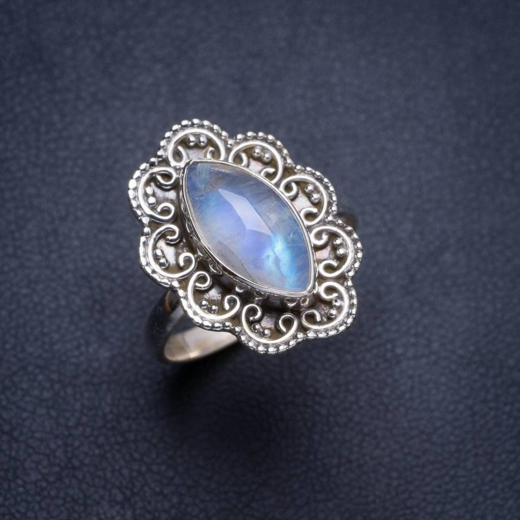 Natural Rainbow Moonstone Handmade Unique 925 Sterling Silver Ring 7.5 Y4488 natural rainbow moonstone handmade unique 925 sterling silver ring 6 75 y4681