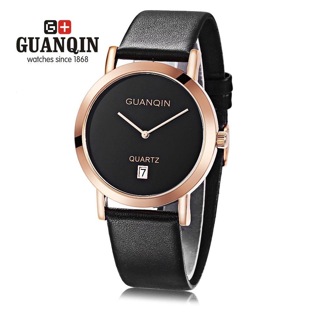 GUANQIN Male Quartz Watch Date Display Ultra-thin Dial Wristwatch for Men weiqin w3224 shell dial ultra thin ceramic women quartz watch