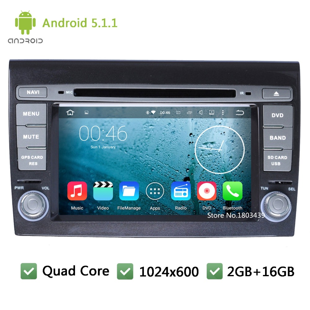 7″ Quad Core 16GB Android 5.1.1 HD 1024*600 WIFI DAB+ FM BT Car DVD Player Radio Stereo Audio Screen PC For Fiat Bravo 2007-2014