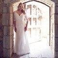 Sexy Plus Size Vestidos de Casamento Chiffon Praia vestido de Noiva Com Decote Em V Ruched Plissados Vestido de Casamento com Lace Applique Custom Made