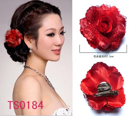 1pc red blooming flower hair flower clip bridal bride hair headband headpiece hairpin pin wedding prom