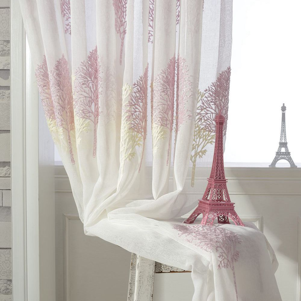 Rideau Voilage Double Us 7 8 35 Off Double Color Tree Embroidered Tulle Curtains Sheer Curtain Embroidery Window Volie Cortinas Rideau Voilage Gordijnen Cl 123 In