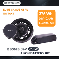 Bafang motor BBS01 BBS01B 250w 36v10.4ah LG battery electric bike conversion kit electric mid drive motor electric bike kit