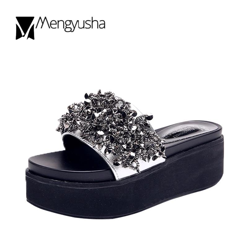 forme Épais Flip Femmes argent Coins Plage Argent Confortable Diapositives Noir Talons Bling Cristal Dames Sandales D'été Zapatos Flops Plate Mujer Chaussures n06wRACPq