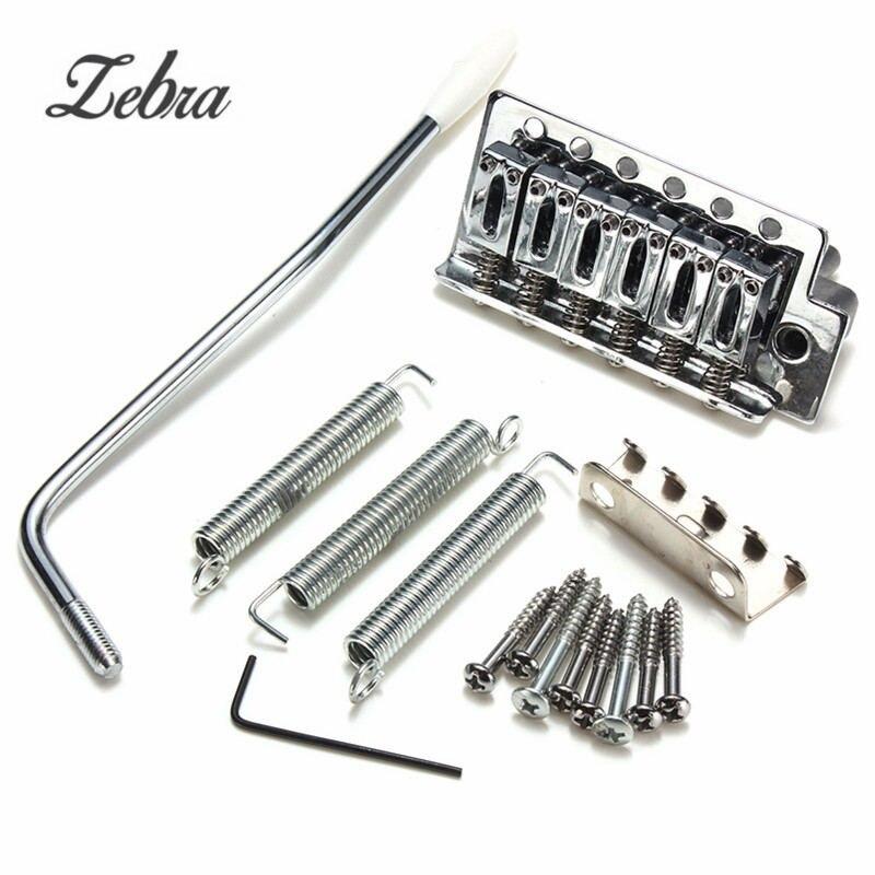 Zebra 1 Set 10.8mm 6 Strings Electric Guitar Chrome Tremolo Bridge for Fender Strat Including Claw+3 Spring+8 Screws+Tremolo Bar