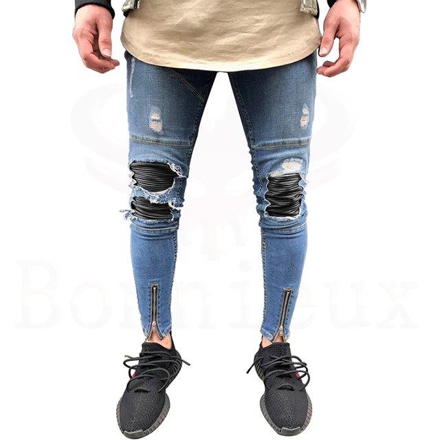 71ee6677ee Hombres Jeans Destroyed Ripped Stretch Tobillo Cremallera Skinny Jeans Para  Hombres pantalones de Diseño de Moda