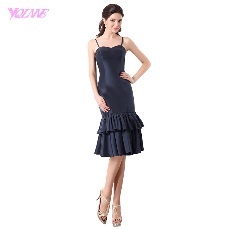 YQLNNE Elegant Navy Blue Taffeta Tea Length   Cocktail     Dresses