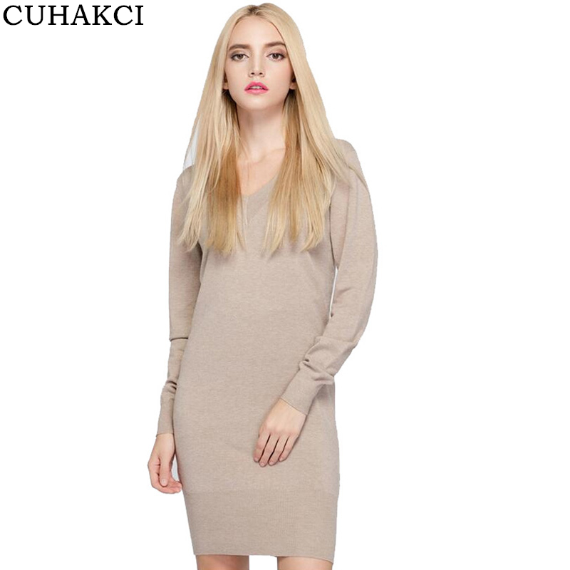 CUHAKCI Midi Autumn Dress 2017 Plus Size Women Knitted Dresses Deep V Neck Long Sleeve Pullovers Office Pencil Bodycon Dress plus size double pockets knitted dress
