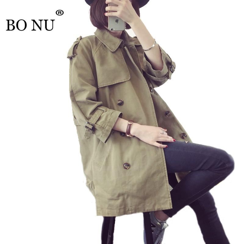 BONU Spring Casual Long Loose Jacket Women Double Breasted Windbreaker Coat Jacket Spliced Harajuku Coat Oversize Jacket Female