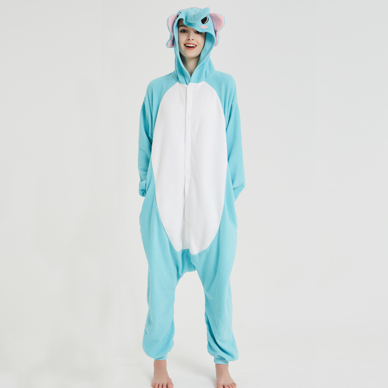 Elephant Adult Pajamas Polar Fleece Onesies Kigurumi For Halloween Pink One-piece Jumpsuit Siamese Cosplay Custome (4)