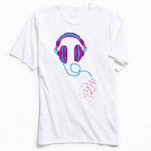 Pixel Music Men T Shirts Design Hip Hop Guys T-shirt Pure Cotton Comics Tops Tees Funky Short Sleeve NEW YEAR DAY Tee-Shirts