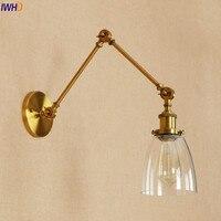 IWHD Loft Lâmpada de Parede Sombra De Vidro de Ouro Antigo Retro Vintage Industrial Edison Arandela Iluminação Ajustável Longo Braço de Luz de Parede