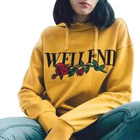 2017 Women Rose Letter Print Hoodies Sweatshirt Harajuku Casual Long Sleeve Drawstring Loose Hooded Pullover Yellow
