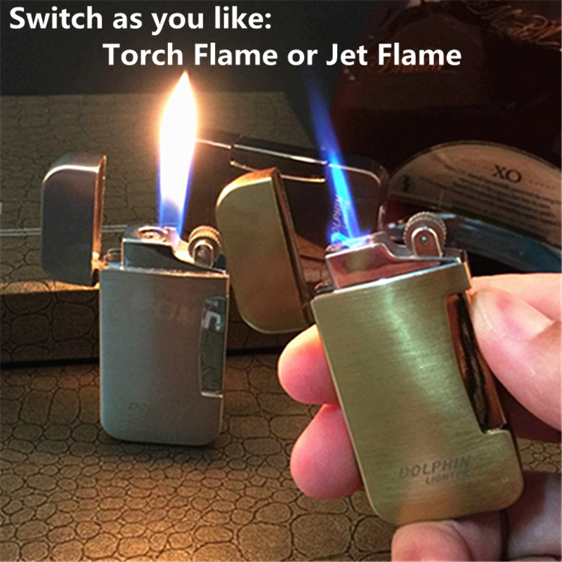 Doble moldes antorcha y Jet encendedor a prueba de viento encendedor ignición portátil Metal ligeros Reflatable Gas butano encendedor fumar herramientas