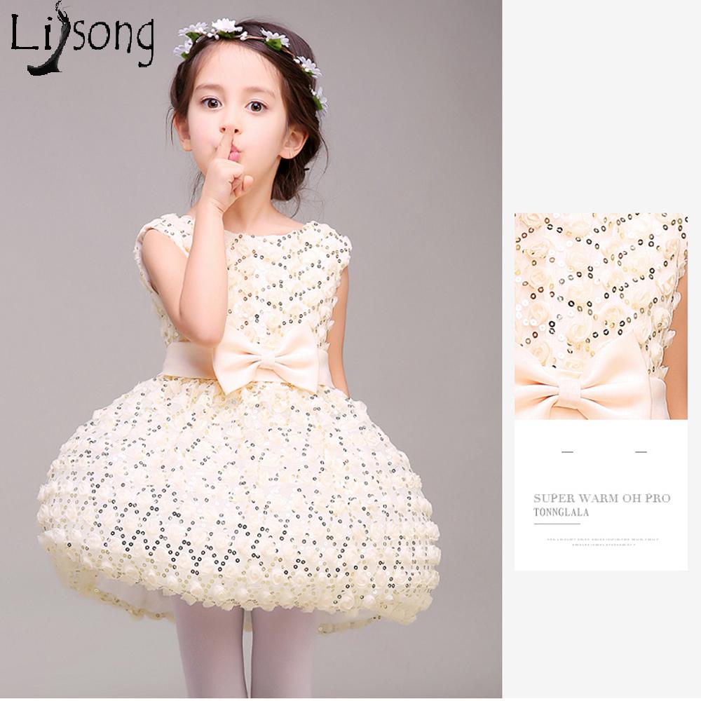 Lovely Girls Ball Gowns Flower Girl Dresses Cheap Real Photo Vestido