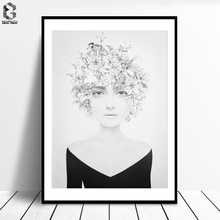 ZeroC Cuadros Posters And Prints Black Portrait Wall Art Canvas Painting Pictures For Living Room Nordic Girl Home Decoration