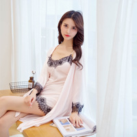 Women's Robe & Gown Sets Sexy Lace Bathrobe + Mini Night Dress 2 Two Pieces female Sleepwear Sleep Set Faux Silk with Chest Pads