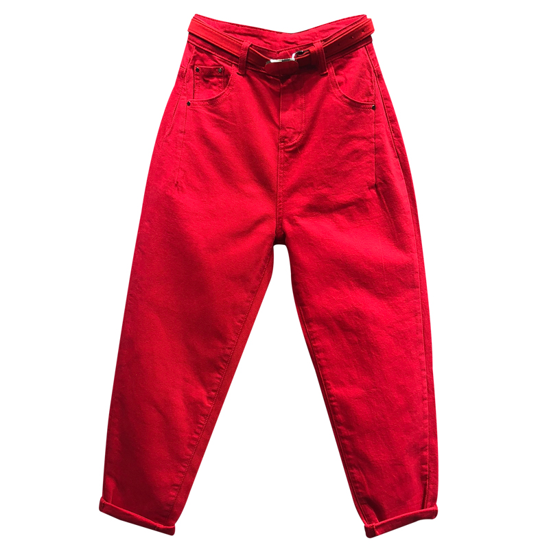 Plus Size 5XL!2020 Spring Fashion Red Loose Jeans Casual Women Harem Ankle Length Pants