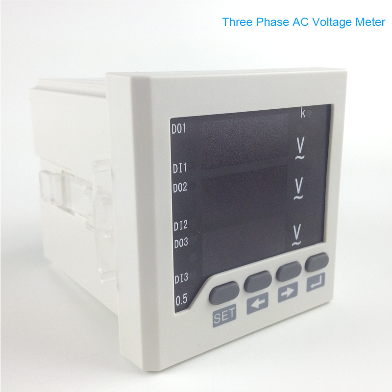 Digital LED display Panel mounting 3 phase AC Voltage meter ,0-450 voltage range ,220V power supply V meter