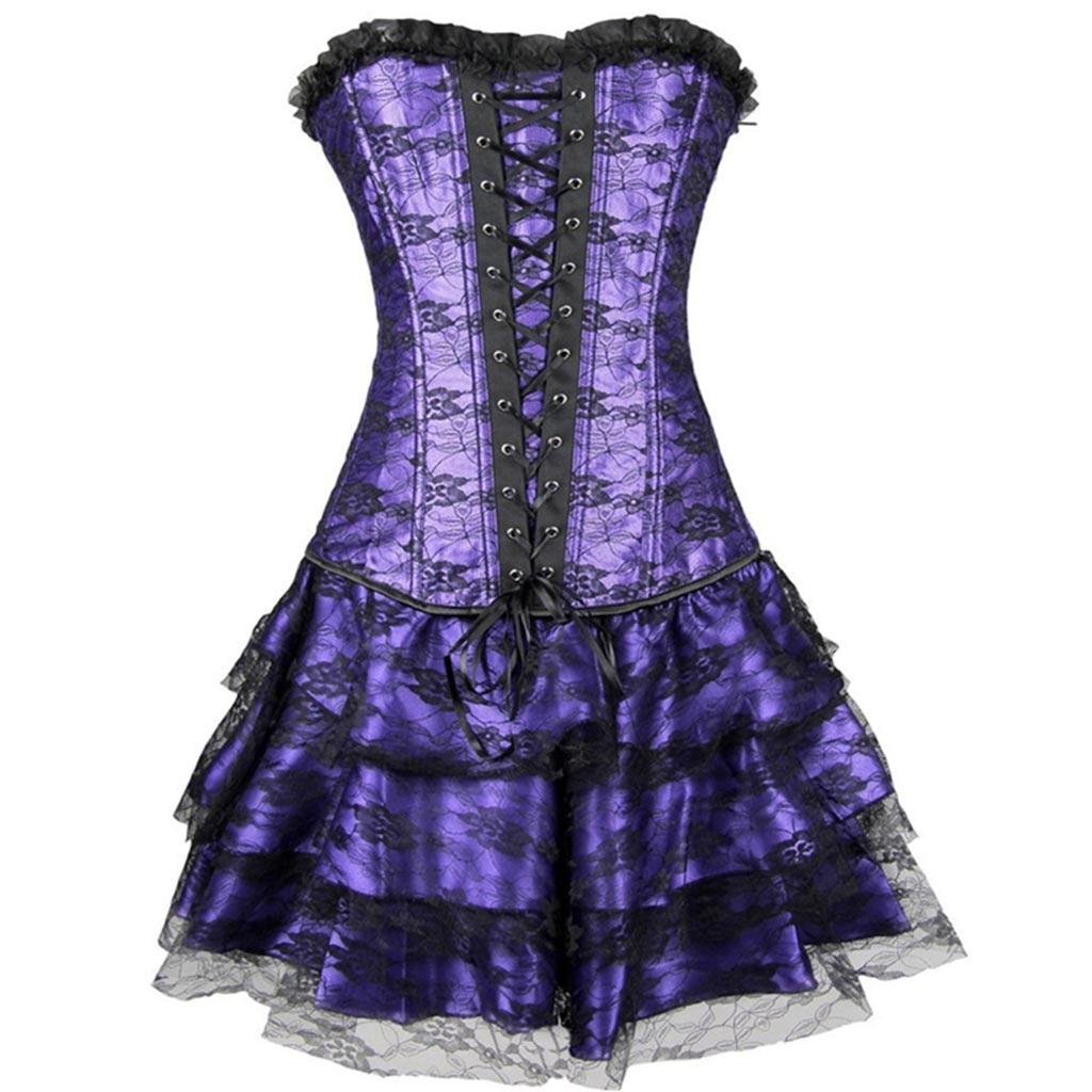 2019 gothic spring autumn styles Women Sexy dress Burlesque Corset with peplum Mini dress party Costume vestidos de fiesta Hot 1