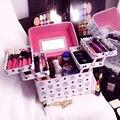 Las mujeres de Gran Capacidad de la Moda Bolso Cosmético del artículo de Tocador Del Organizador Del Maquillaje Profesional Multicapa Caja De Almacenamiento Portátil Bonita Maleta