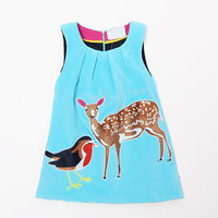 Fall Winter Girls Dresses Cute Animal Pattern Flannelette Children Clothing Sleeveless Vest Dress Brand Kids Clothes