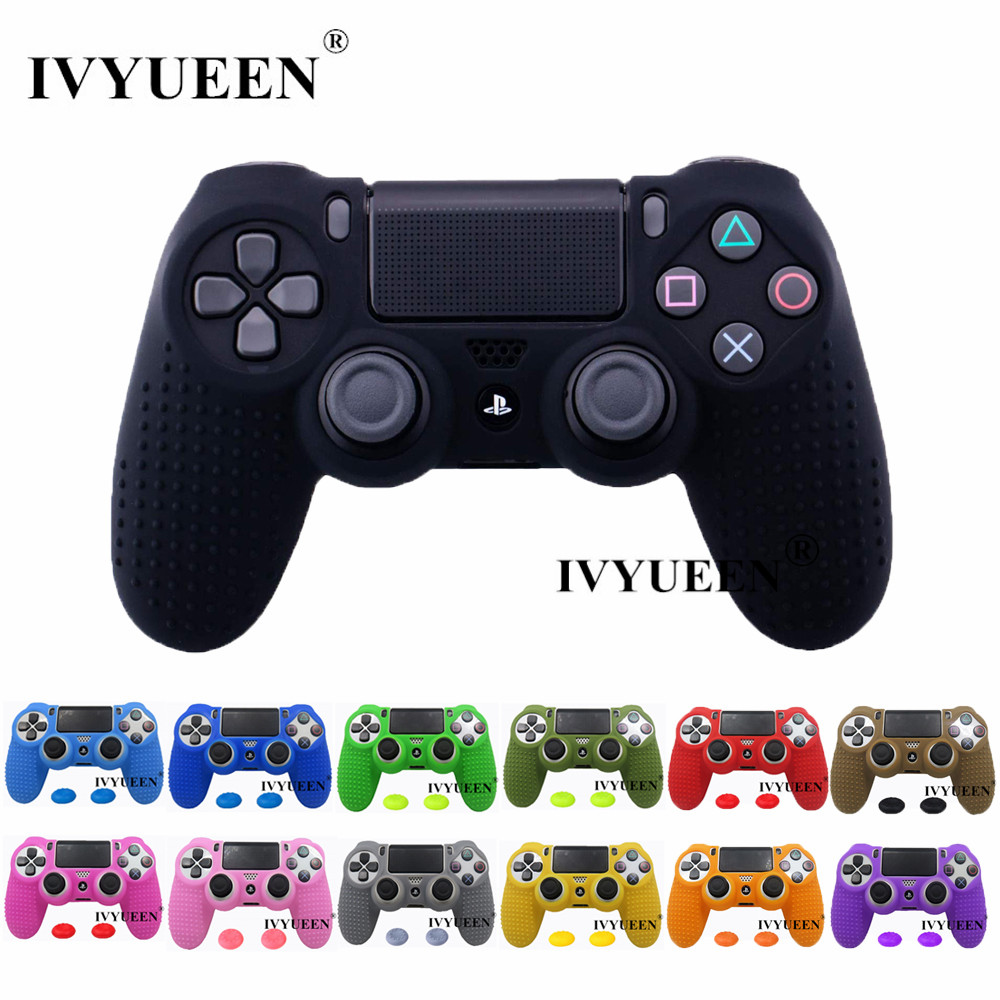 IVYUEEN Studded Protective Silicone Cover Skin For Dualshock 4 PS4 Pro Slim Controller Case & Thumb Stick Grip For PlayStation 4