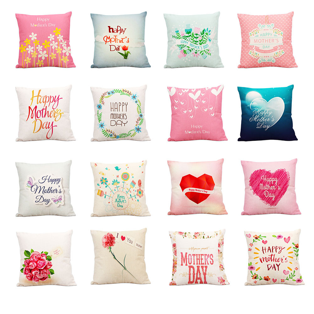 Throw Pillow Covers.Us 1 5 31 Off Mother S Day Cushion Cover 45x45cm Cotton Linen Throw Pillows Case Sofa Bed Decorative Pillow Cover Funda Cojin Mother Gift In Cushion