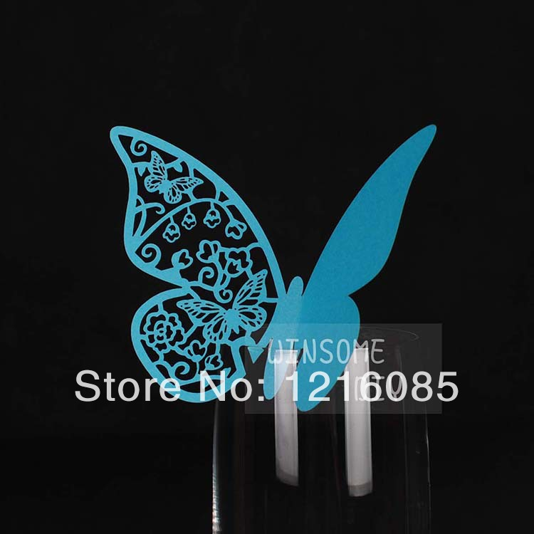 Cheap Wine Glass Cards Wine Glass Markers Wedding Cake Toppers guest name card Party Decorations marker butterfly blue F06 image