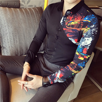 2017 New Men Dress Shirts Autumn Long Sleeve Slim Fit Men S Social Shirt Fashion Patchwork
