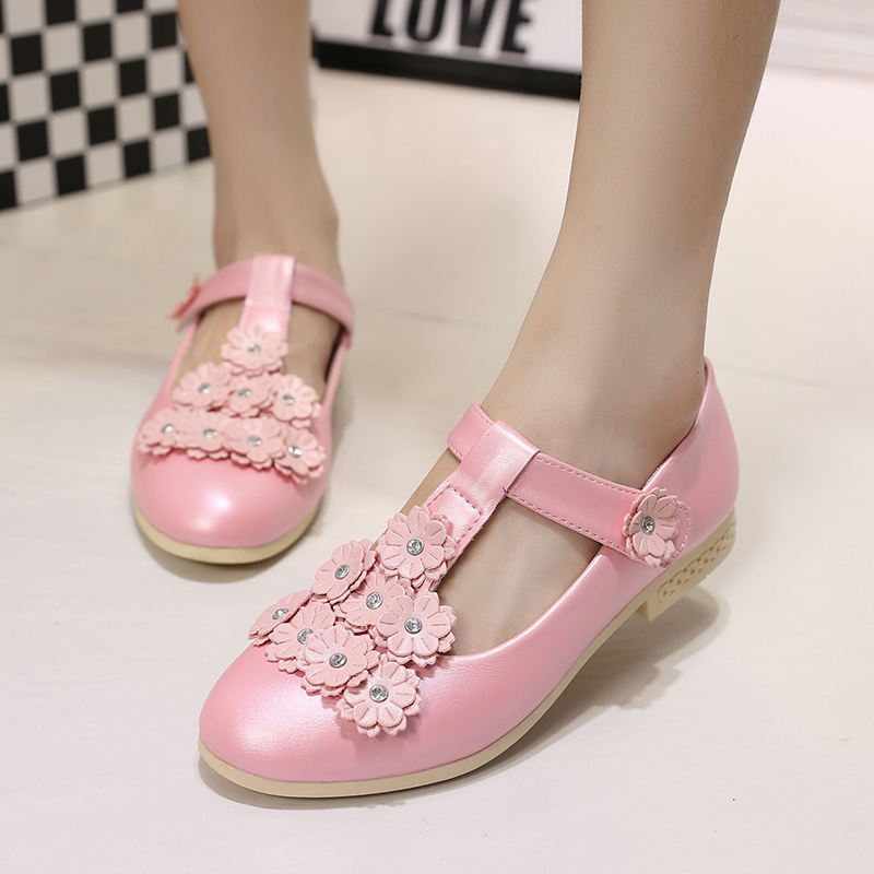 ULKNN Children s Flat Princess Shoes Kids Party Girls Shoes Pink Flower  Rubber Mary Janes Shoes 2018 Fashion school shoes 26 36 on Aliexpress.com  c0e289d7aab7