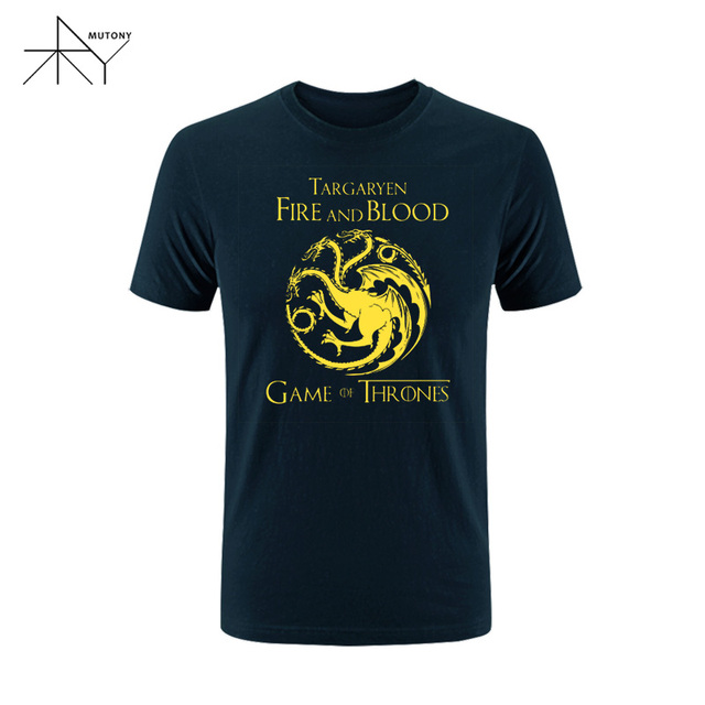 Game Of Thrones Fire and Blood Dragon Cotton Short Sleeve Men's T-Shirt