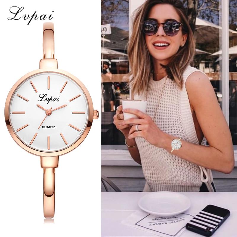 Lvpai Rose Gold Women Bracelet Watches Fashion Luxury Quartz-Watches Brand Ladies Casual Dress Sport Watch Clock Dropshiping
