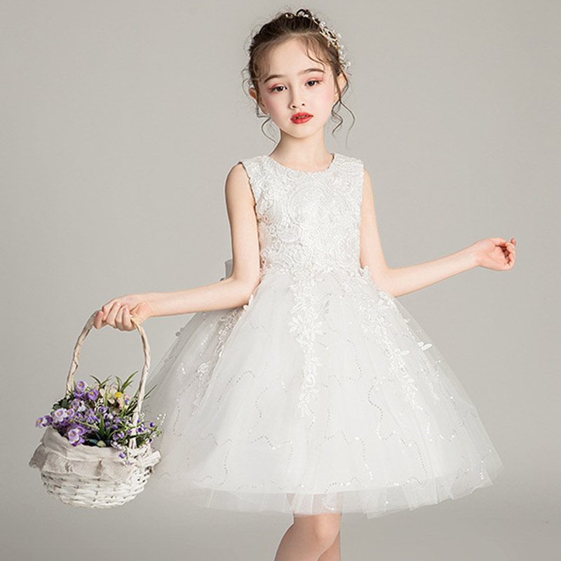 Ball Gowns For Girls Flower White Princess Evening Wedding Girl Dresses Kids First Communion Dress Pageant Dresses For Girls