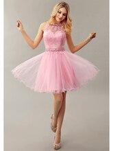 2016 Glamorous Rosa Ballkleid Prinzessin Organza Party Kleider Jewel Short Cocktailkleider Kristall Schlüsselloch Zurück Prom Kleider cd10285