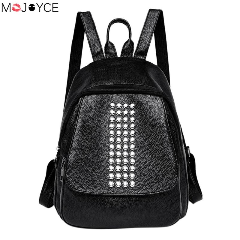 Fashion Rivets Street Punk Style Backpacks Women Casual PU Leather Rucksack Teen Girls Travel Black Shoulder School Bags