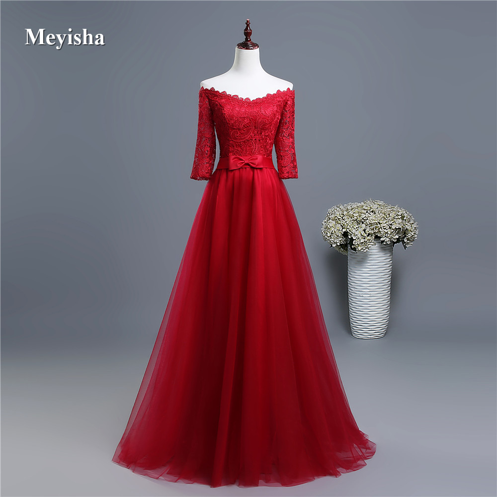 ZJ6005 Burgundy Tulle Sexy Middle Sleeve Party Dress Off Shoulder New Bridesmaid Dresses Long Plus Size Maxi 2019 New Arrival