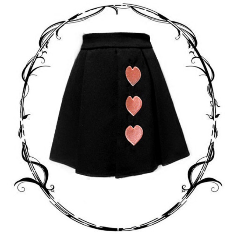 Women Punk Style Lolita Gothic Embroidery Pleated Black Heart Vintage Rock Mini Short Skirts Lolita Pleated Solid Color Kawaii