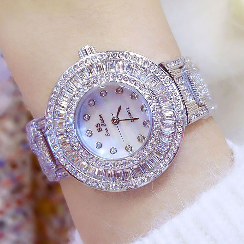 2017 Gold Watch Women Luxury Brand New Geneva Ladies Quartz-Watch Gifts For Girl Full Stainless Steel Rhinestone wrist watches  hot luxury brand geneva fashion men women ladies watches gold stailess steel numerals analog quartz wrist watch for men women