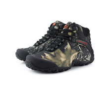 Men tactical camouflage waterproof canvas hiking boot male Anti-skid Wear resistant fishing zapato climbing plus size high shoes